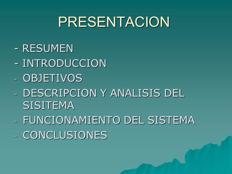 PRESENTACION - RESUMEN - INTRODUCCION OBJETIVOS