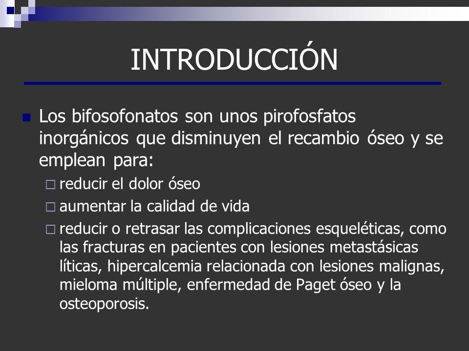INTRODUCCIÓN Los bifosofonatos son unos pirofosfatos inorgánicos que disminuyen el recambio óseo y se emplean para: