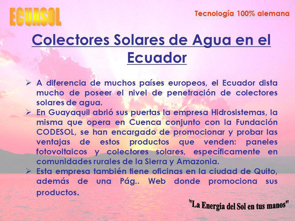 Colectores Solares de Agua en el Ecuador