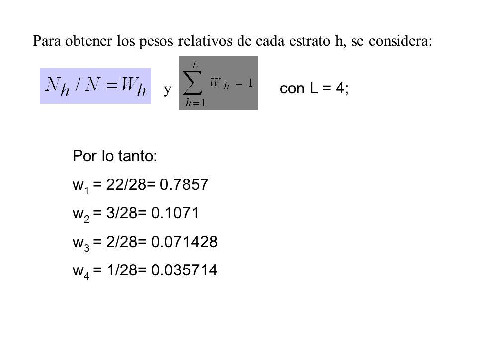 Para obtener los pesos relativos de cada estrato h, se considera:
