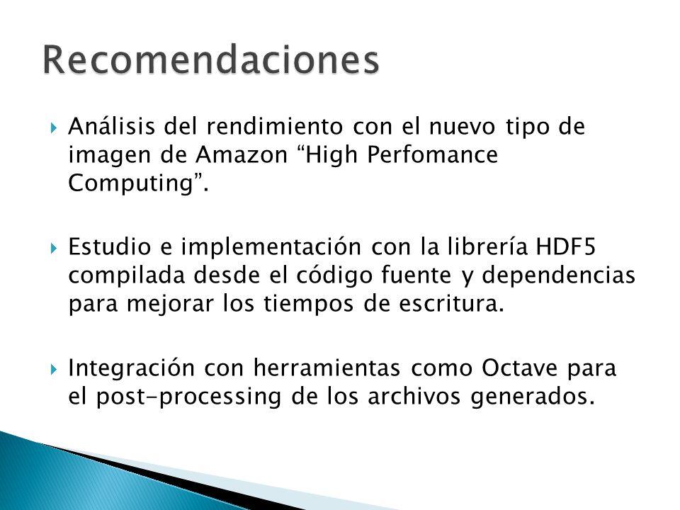 Recomendaciones Análisis del rendimiento con el nuevo tipo de imagen de Amazon High Perfomance Computing .