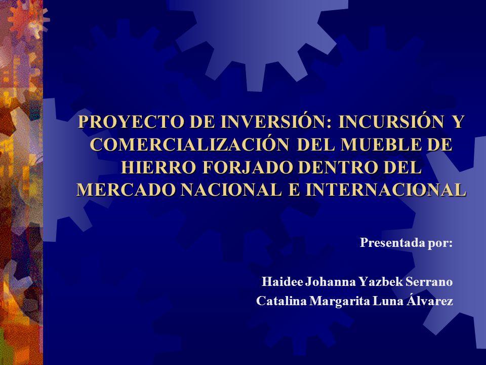 PROYECTO DE INVERSIÓN: INCURSIÓN Y COMERCIALIZACIÓN DEL MUEBLE DE HIERRO FORJADO DENTRO DEL MERCADO NACIONAL E INTERNACIONAL