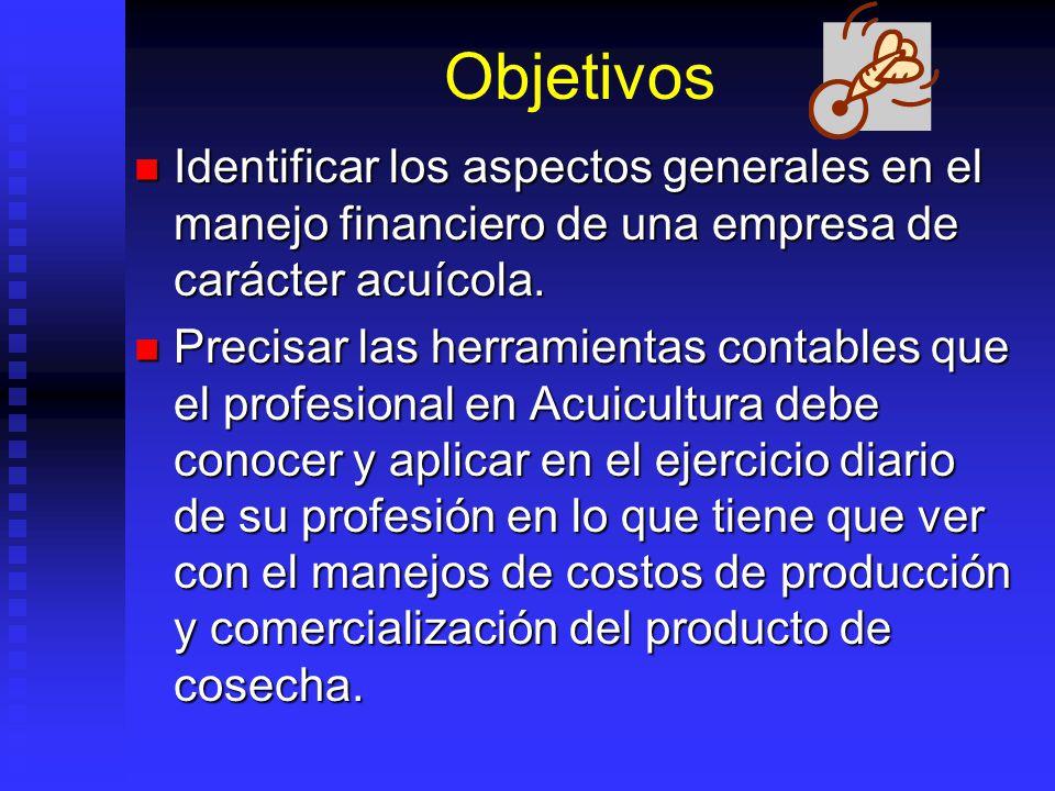Objetivos Identificar los aspectos generales en el manejo financiero de una empresa de carácter acuícola.