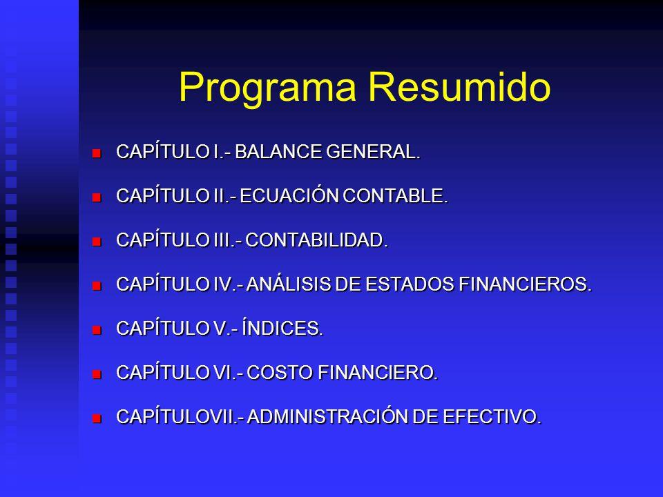 Programa Resumido CAPÍTULO I.- BALANCE GENERAL.