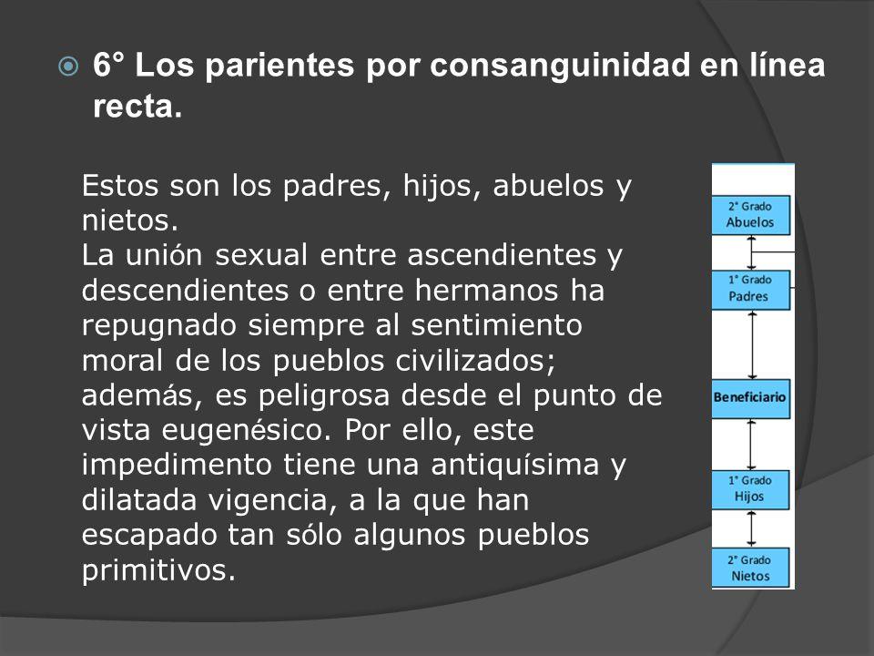 6° Los parientes por consanguinidad en línea recta.