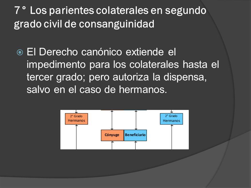 7° Los parientes colaterales en segundo grado civil de consanguinidad