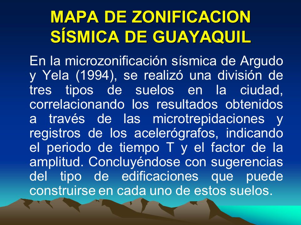 MAPA DE ZONIFICACION SÍSMICA DE GUAYAQUIL