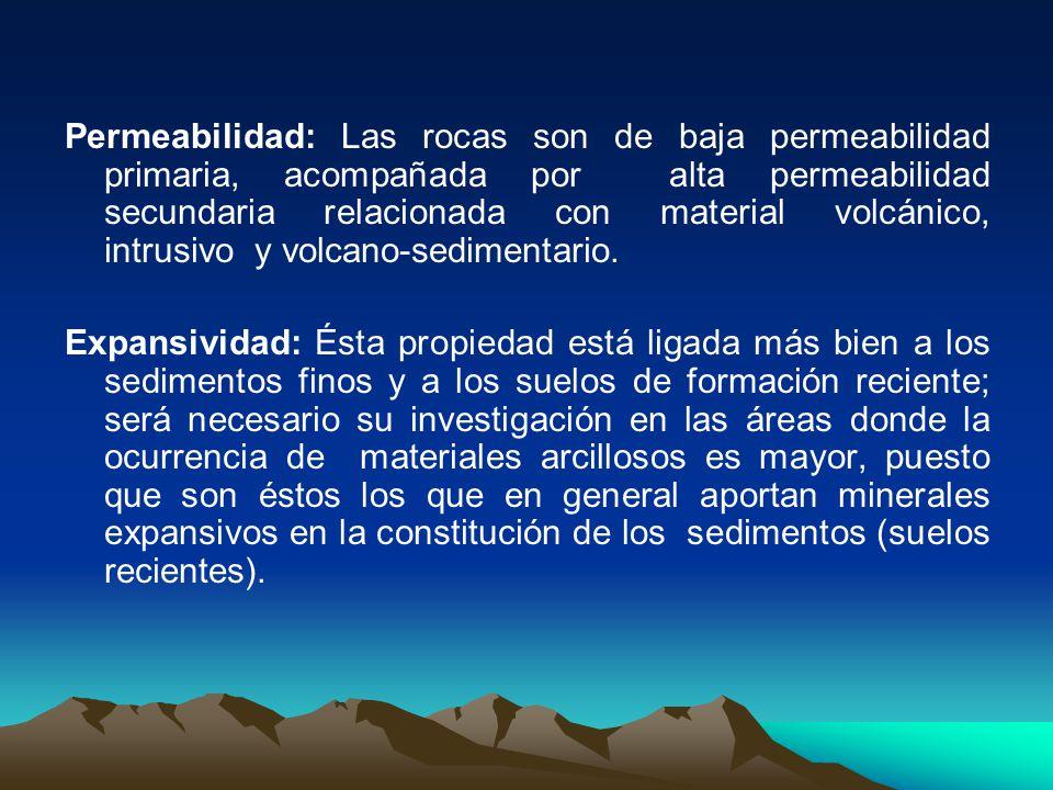 Permeabilidad: Las rocas son de baja permeabilidad primaria, acompañada por alta permeabilidad secundaria relacionada con material volcánico, intrusivo y volcano-sedimentario.