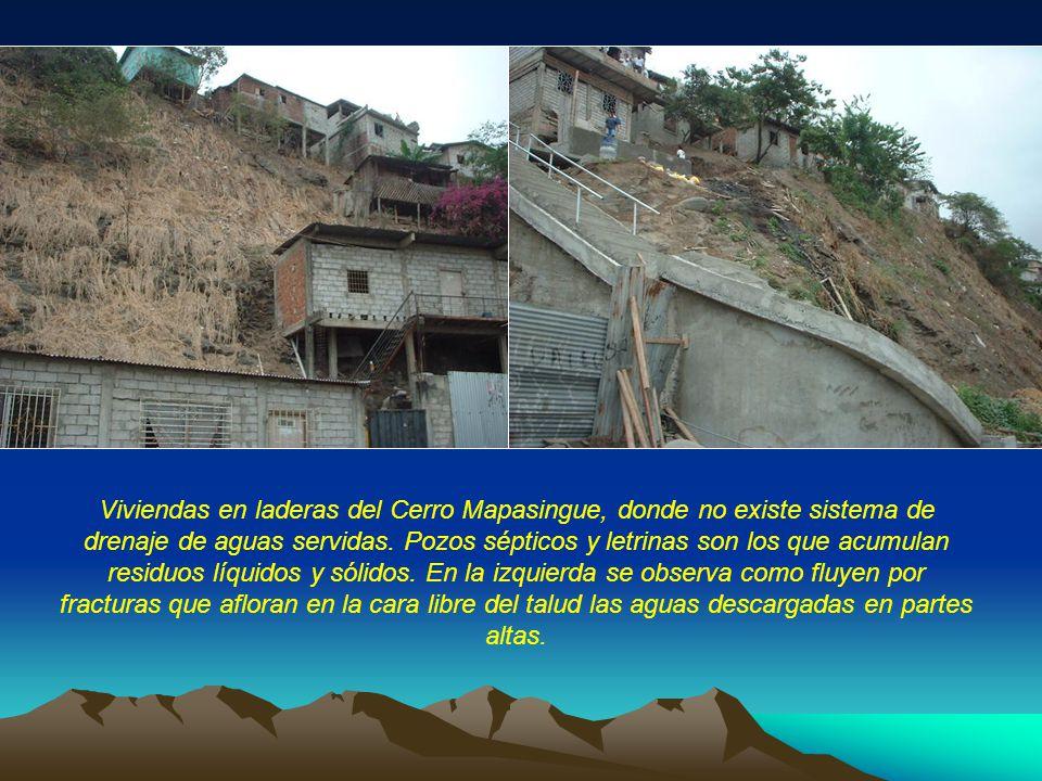 Viviendas en laderas del Cerro Mapasingue, donde no existe sistema de drenaje de aguas servidas.