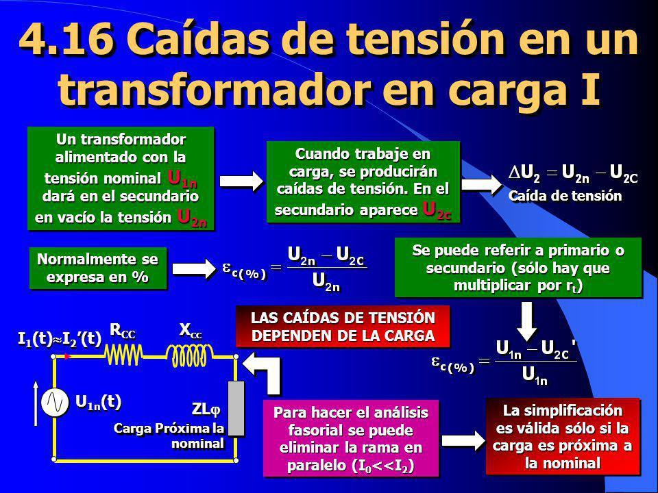 4.16 Caídas de tensión en un transformador en carga I