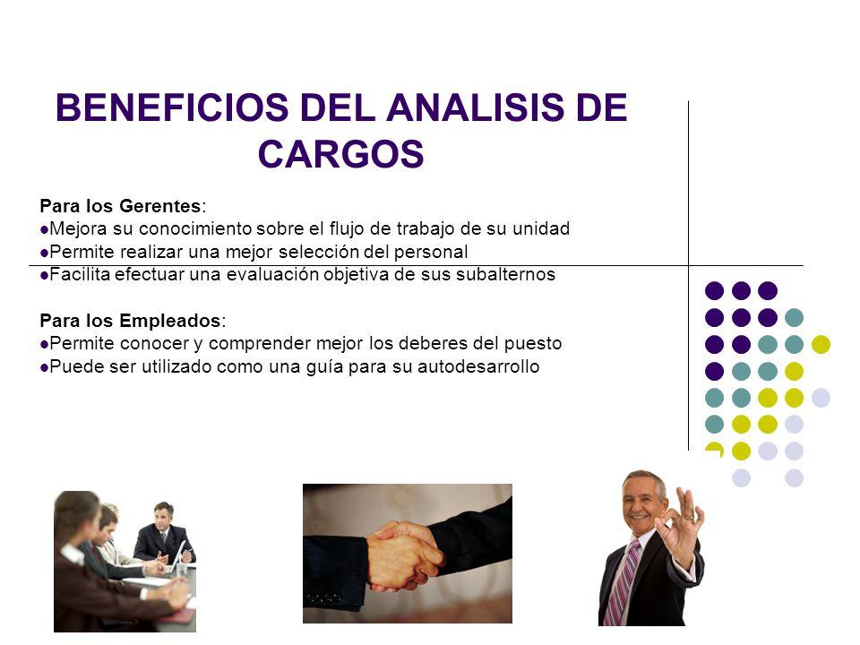 BENEFICIOS DEL ANALISIS DE CARGOS