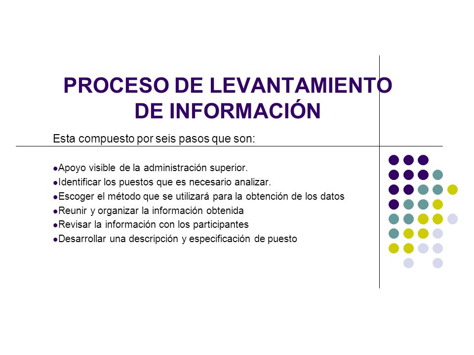 PROCESO DE LEVANTAMIENTO DE INFORMACIÓN