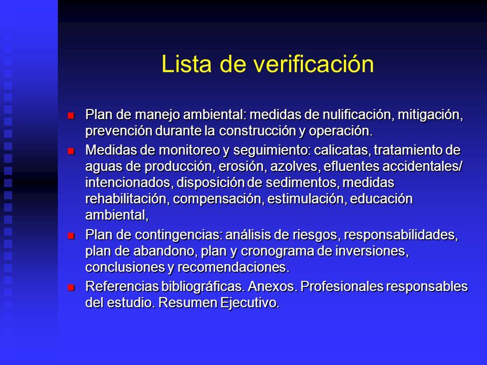 Lista de verificación Plan de manejo ambiental: medidas de nulificación, mitigación, prevención durante la construcción y operación.