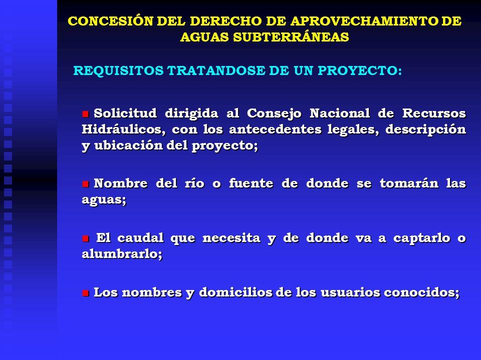 CONCESIÓN DEL DERECHO DE APROVECHAMIENTO DE AGUAS SUBTERRÁNEAS