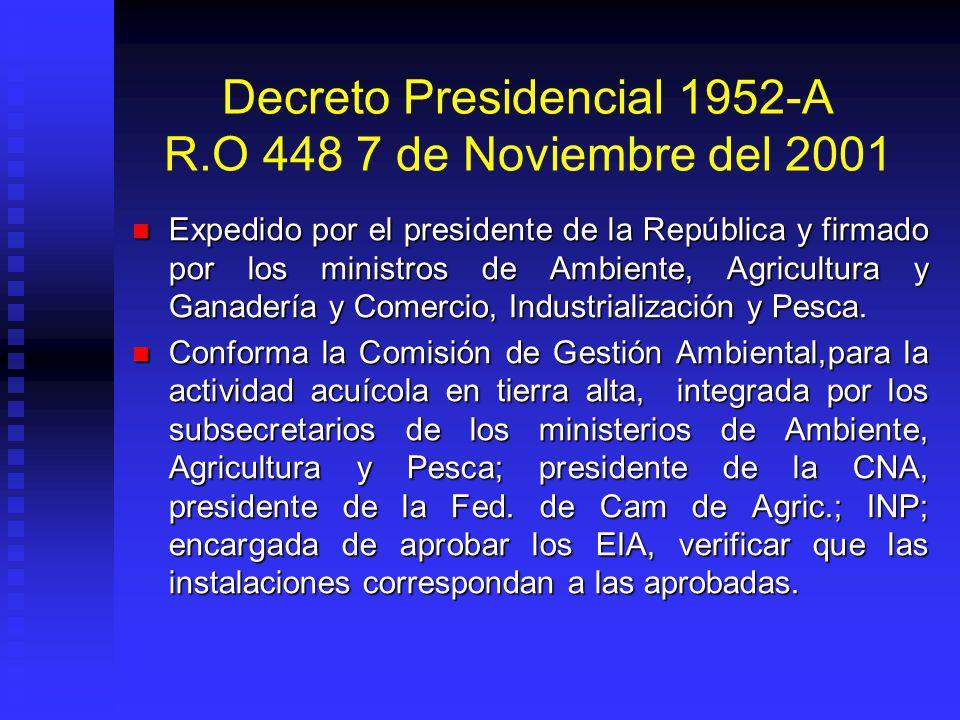 Decreto Presidencial 1952-A R.O 448 7 de Noviembre del 2001