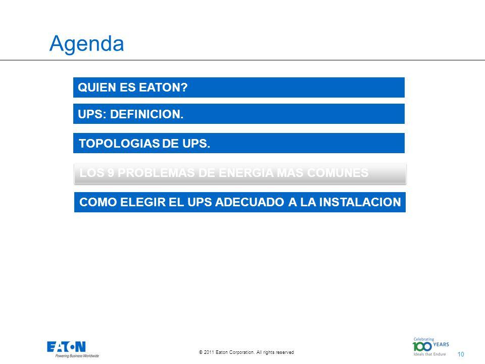 Agenda QUIEN ES EATON UPS: DEFINICION. TOPOLOGIAS DE UPS.