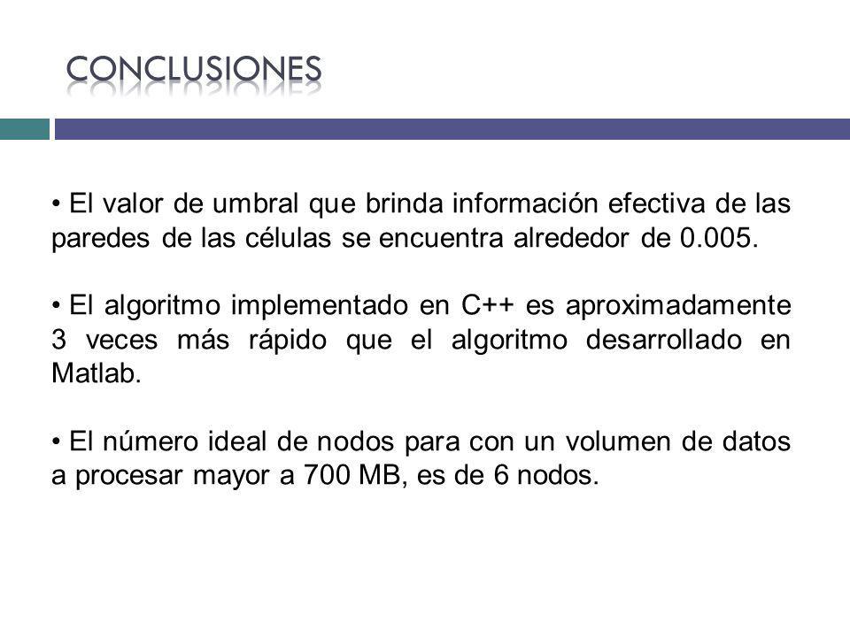 Conclusiones El valor de umbral que brinda información efectiva de las paredes de las células se encuentra alrededor de 0.005.