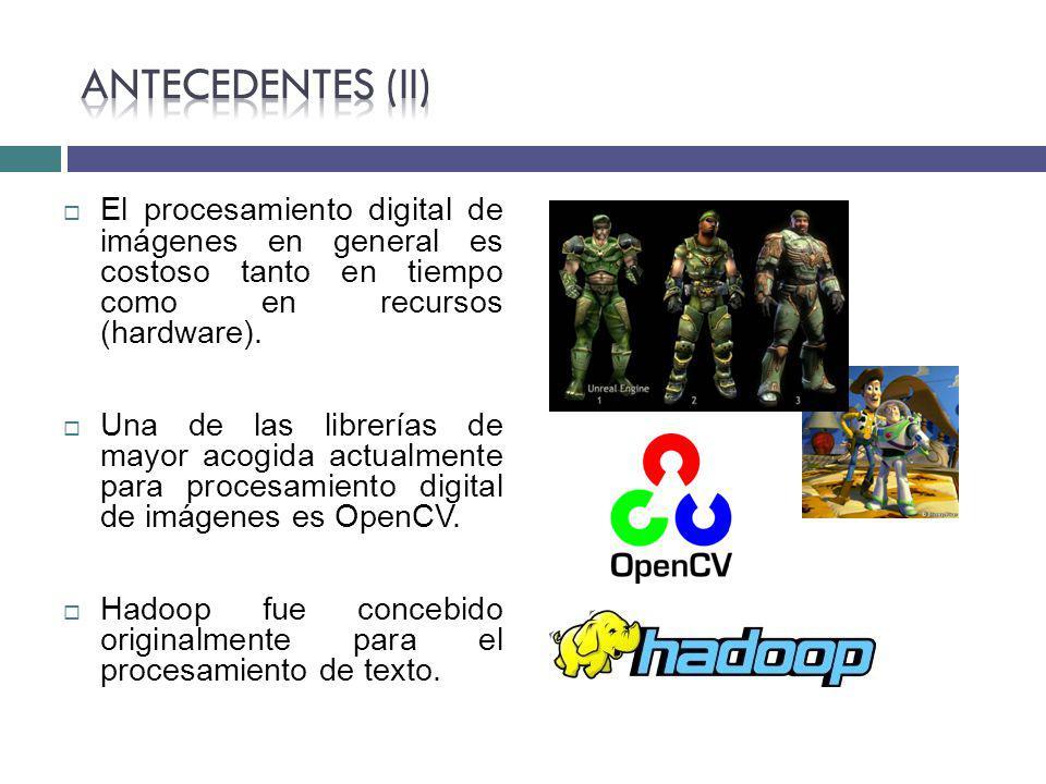 Antecedentes (II) El procesamiento digital de imágenes en general es costoso tanto en tiempo como en recursos (hardware).