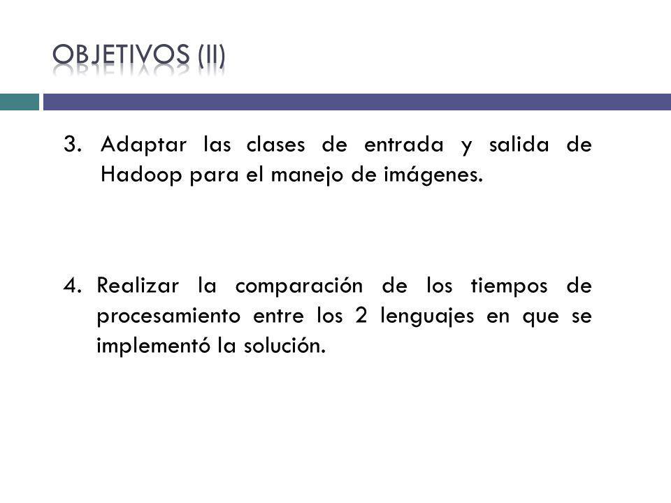 Objetivos (II) Adaptar las clases de entrada y salida de Hadoop para el manejo de imágenes.