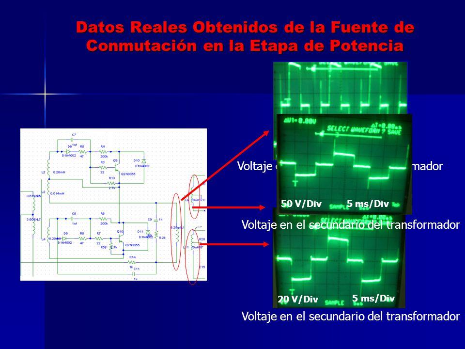 Datos Reales Obtenidos de la Fuente de Conmutación en la Etapa de Potencia