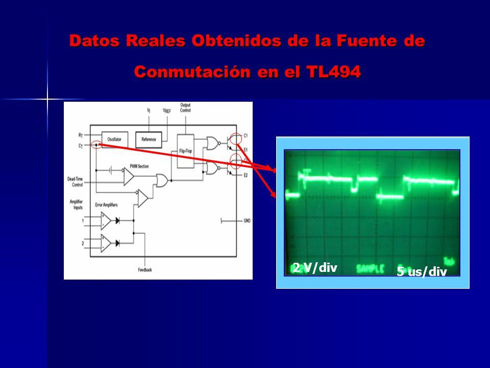 Datos Reales Obtenidos de la Fuente de Conmutación en el TL494
