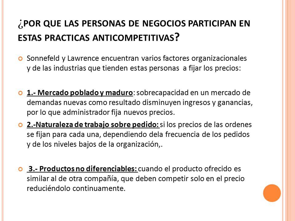 ¿por que las personas de negocios participan en estas practicas anticompetitivas