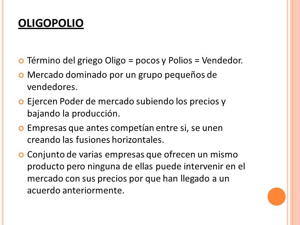 OLIGOPOLIO Término del griego Oligo = pocos y Polios = Vendedor.