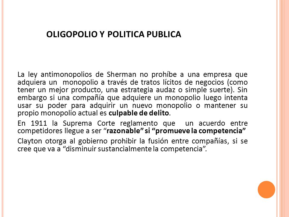 oligopolio y politica publica