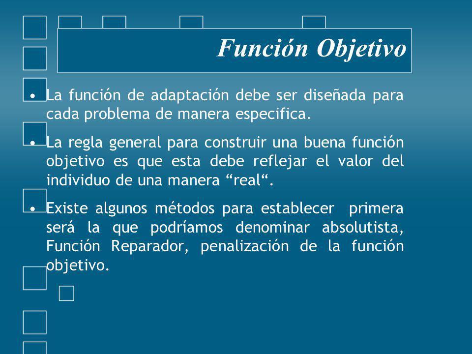Función Objetivo La función de adaptación debe ser diseñada para cada problema de manera especifica.