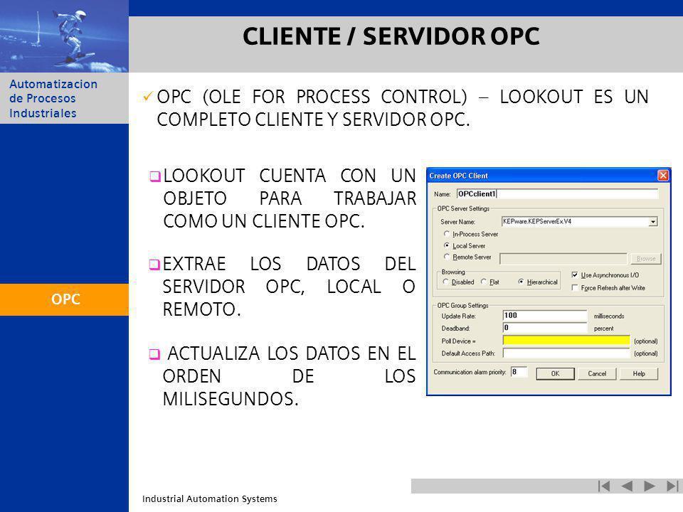 CLIENTE / SERVIDOR OPC OPC (OLE FOR PROCESS CONTROL) – LOOKOUT ES UN COMPLETO CLIENTE Y SERVIDOR OPC.