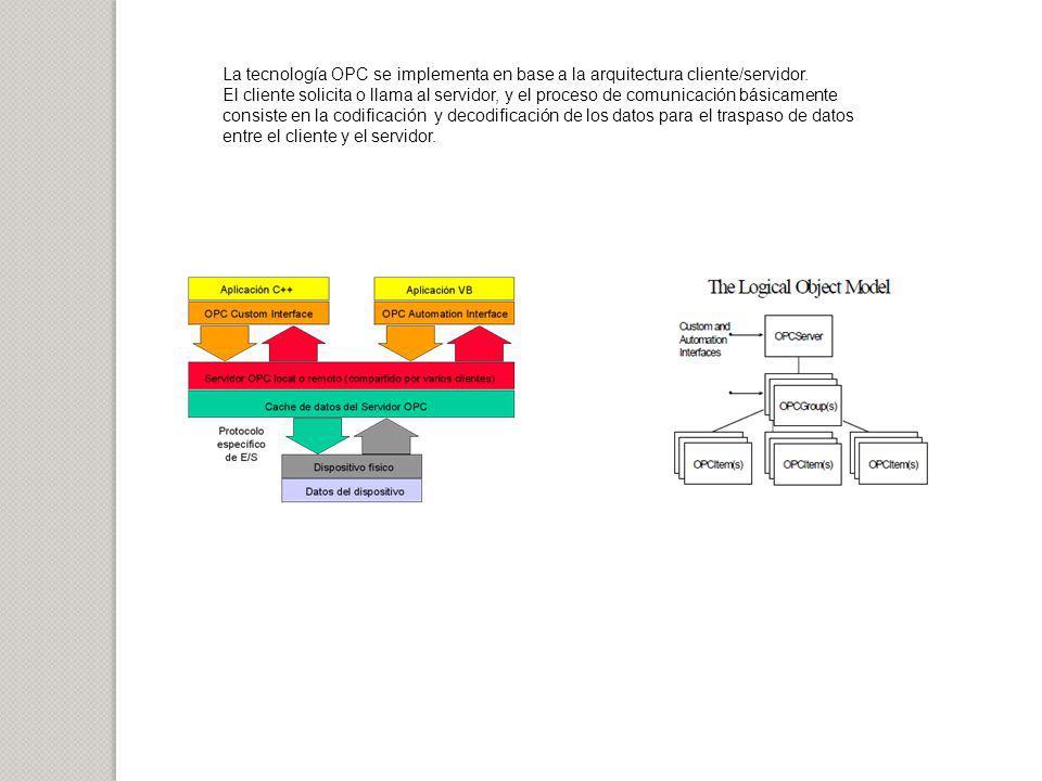 La tecnología OPC se implementa en base a la arquitectura cliente/servidor.