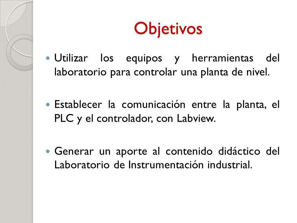 Objetivos Utilizar los equipos y herramientas del laboratorio para controlar una planta de nivel.