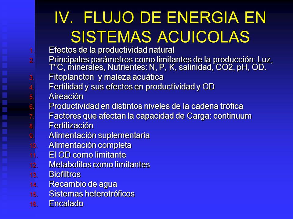 IV. FLUJO DE ENERGIA EN SISTEMAS ACUICOLAS