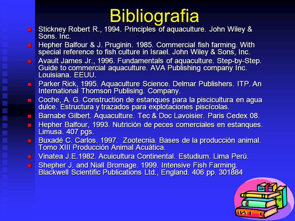 Bibliografia Stickney Robert R., 1994. Principles of aquaculture. John Wiley & Sons. Inc.