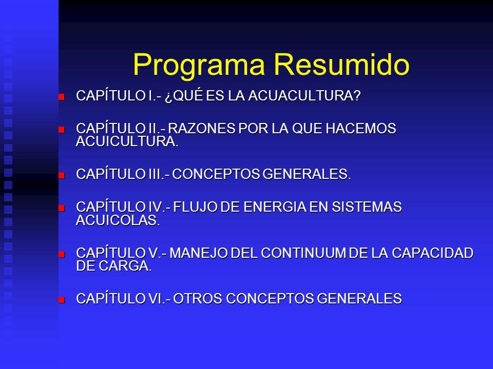 Programa Resumido CAPÍTULO I.- ¿QUÉ ES LA ACUACULTURA