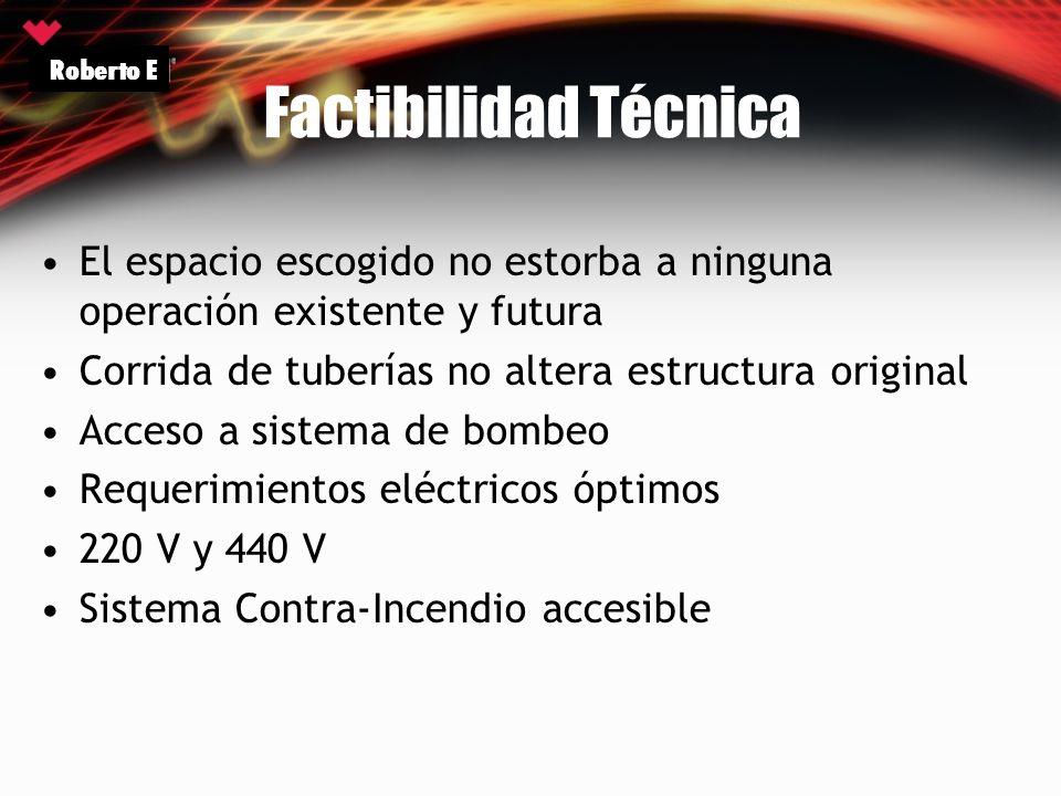 Roberto E Factibilidad Técnica. El espacio escogido no estorba a ninguna operación existente y futura.