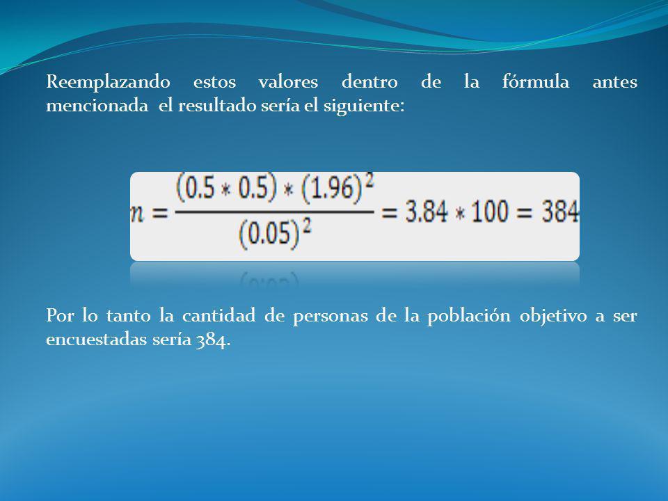Reemplazando estos valores dentro de la fórmula antes mencionada el resultado sería el siguiente: