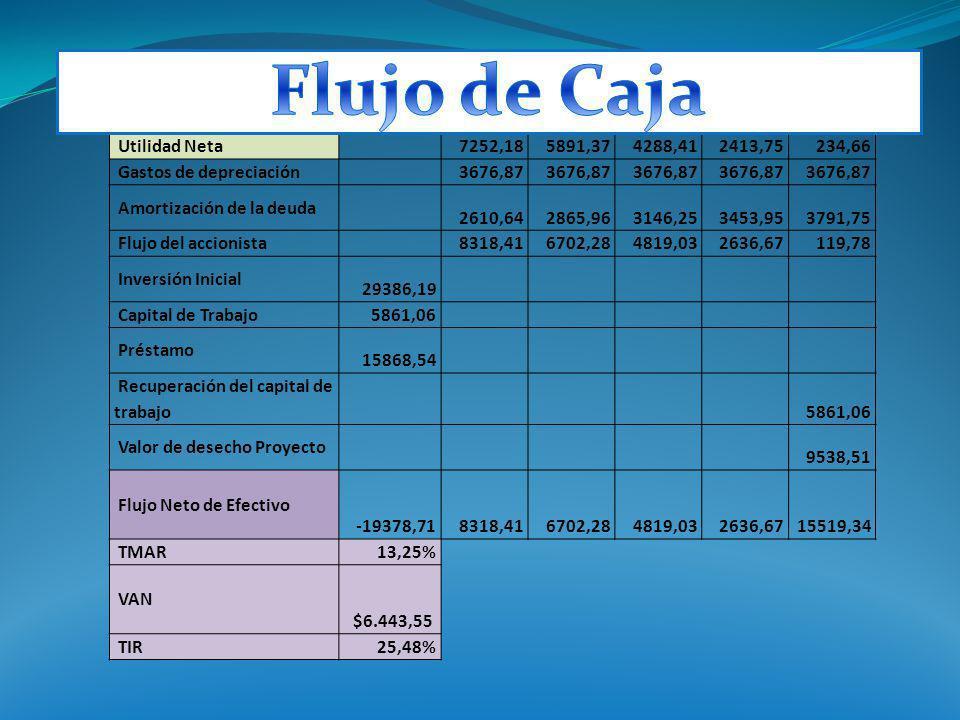 Flujo de Caja Utilidad Neta 7252,18 5891,37 4288,41 2413,75 234,66