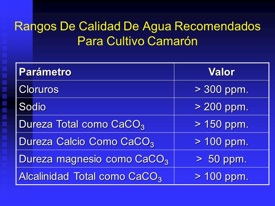 Rangos De Calidad De Agua Recomendados Para Cultivo Camarón