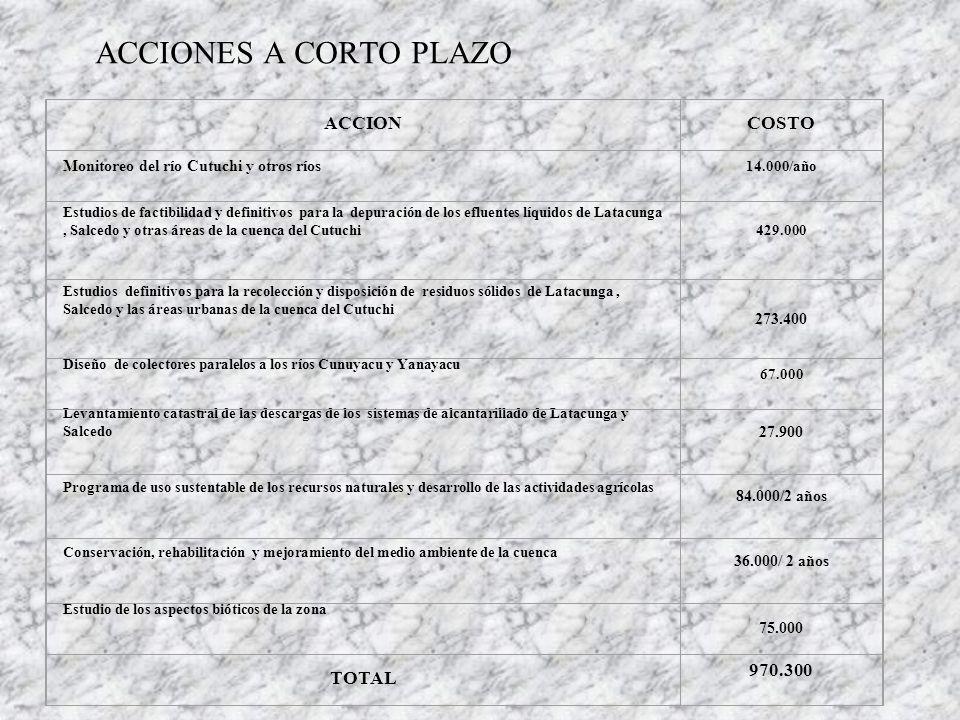 ACCIONES A CORTO PLAZO ACCION COSTO TOTAL 970.300