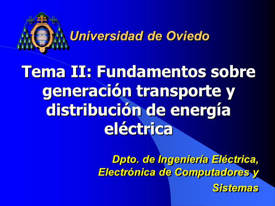 Universidad de Oviedo Tema II: Fundamentos sobre generación transporte y distribución de energía eléctrica.