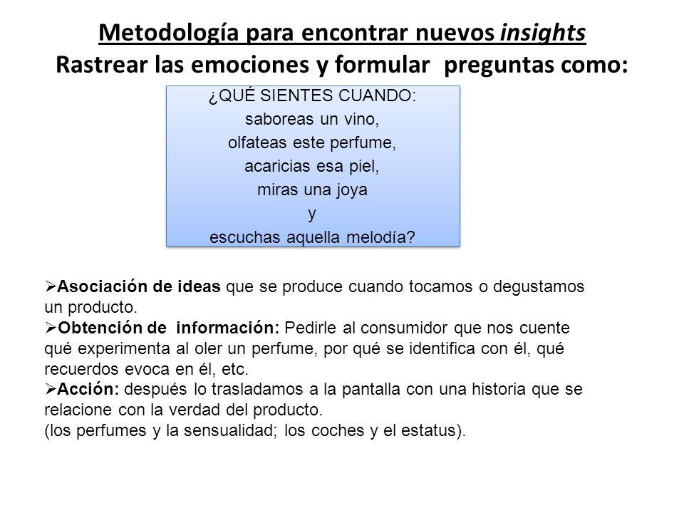 Metodología para encontrar nuevos insights Rastrear las emociones y formular preguntas como: