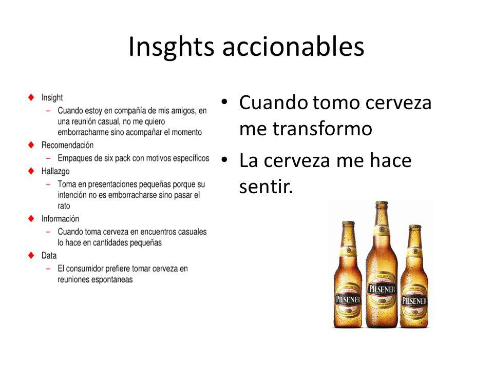 Insghts accionables Cuando tomo cerveza me transformo