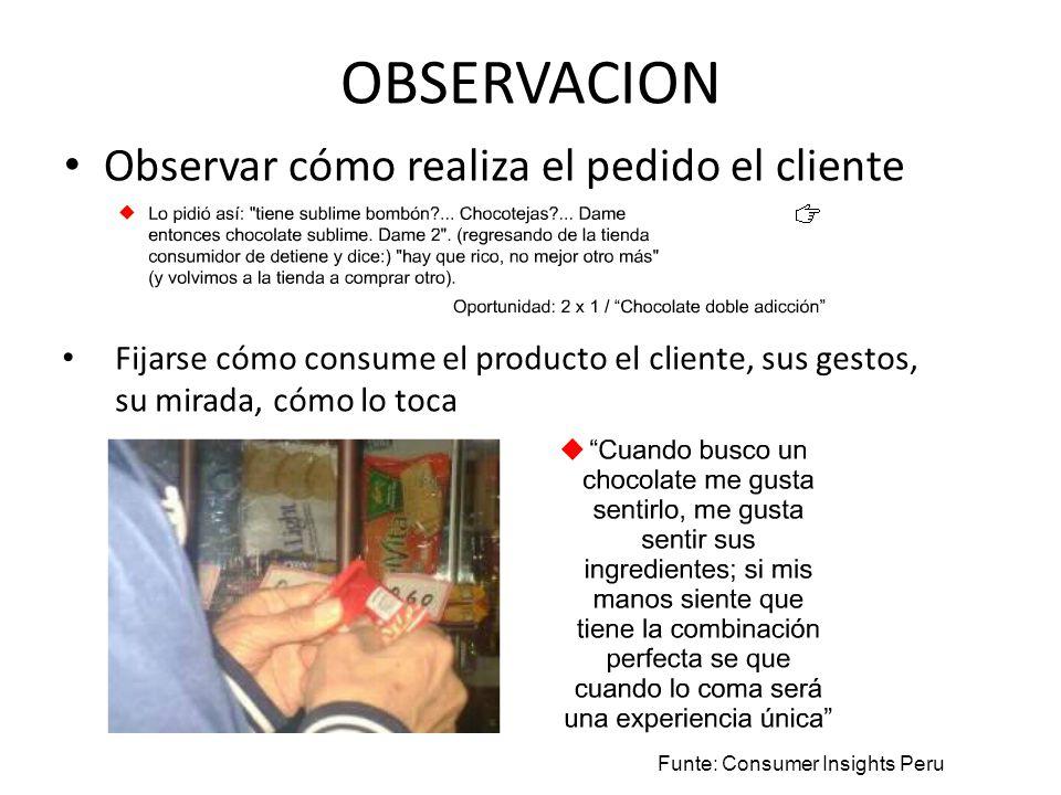 OBSERVACION Observar cómo realiza el pedido el cliente