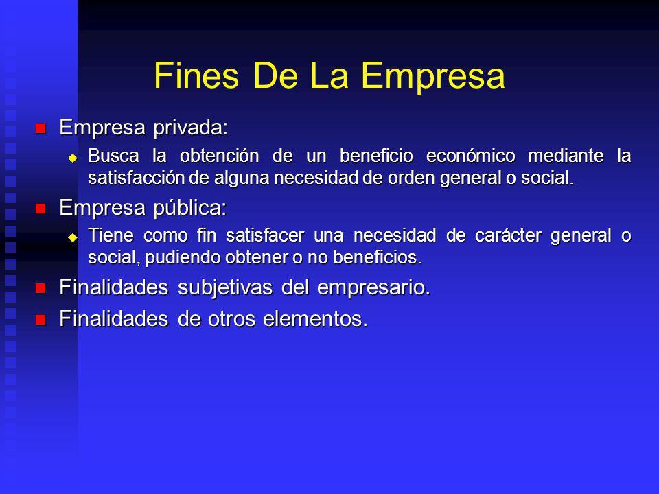 Fines De La Empresa Empresa privada: Empresa pública: