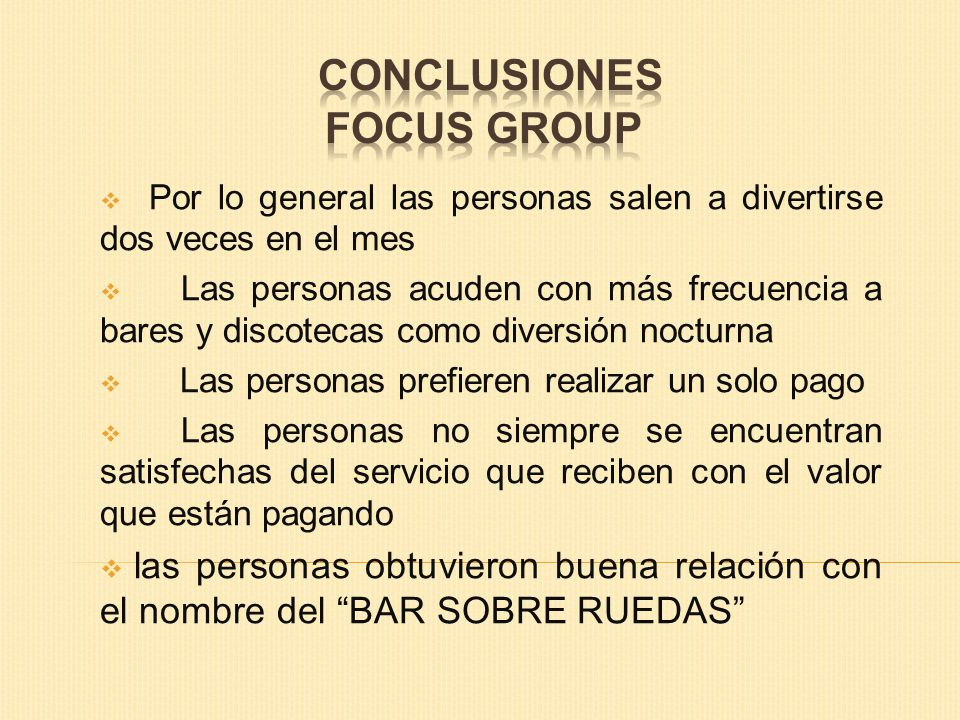 CONCLUSIONES FOCUS GROUP