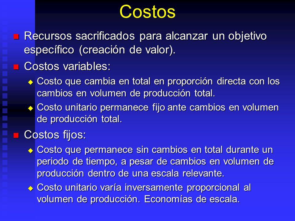 Costos Recursos sacrificados para alcanzar un objetivo específico (creación de valor). Costos variables: