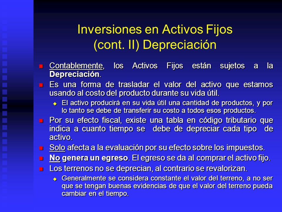 Inversiones en Activos Fijos (cont. II) Depreciación