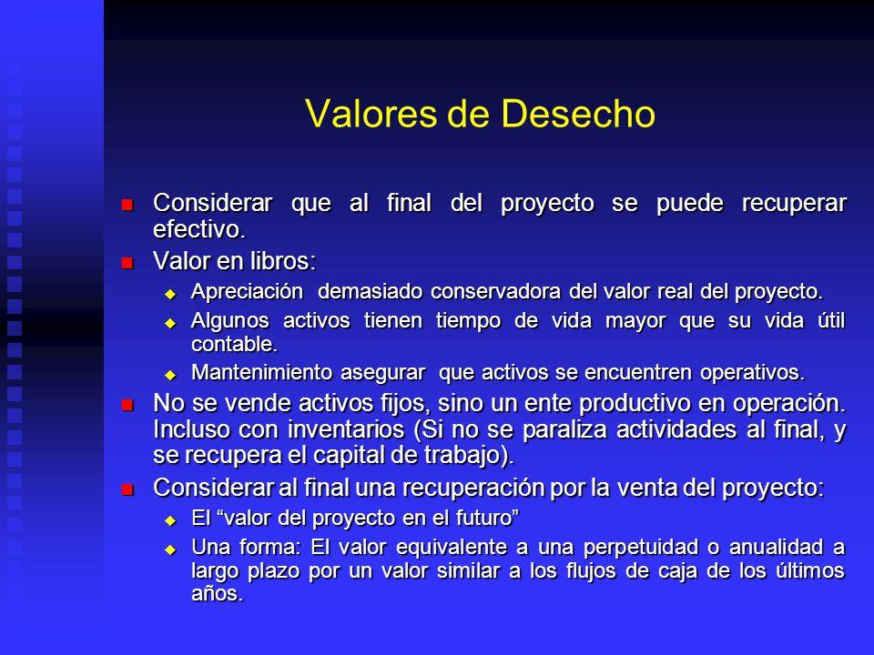 Valores de Desecho Considerar que al final del proyecto se puede recuperar efectivo. Valor en libros: