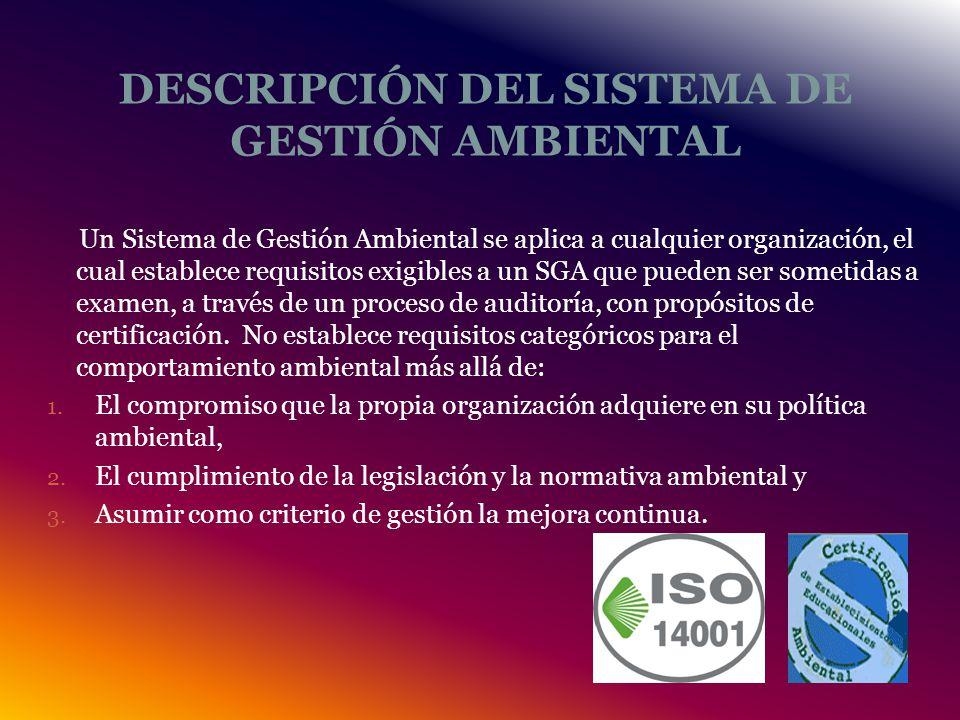 DESCRIPCIÓN DEL SISTEMA DE GESTIÓN AMBIENTAL